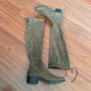 Zara Olive Knee High Suede Boots